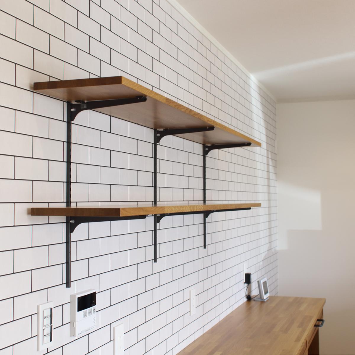 ナラ材棚キッチンカウンター