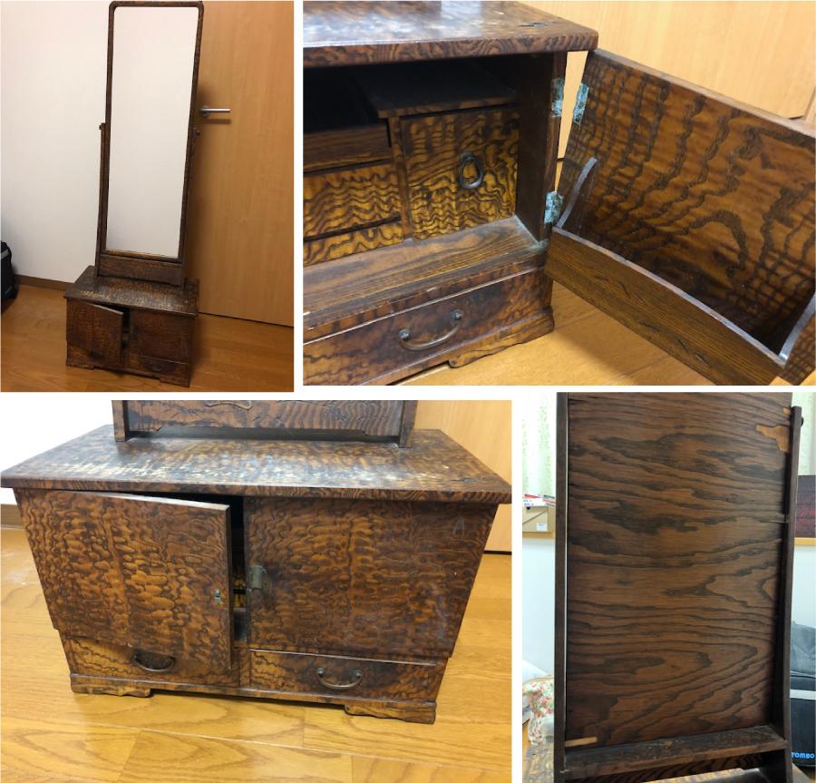 古い家具鏡台の再生修理