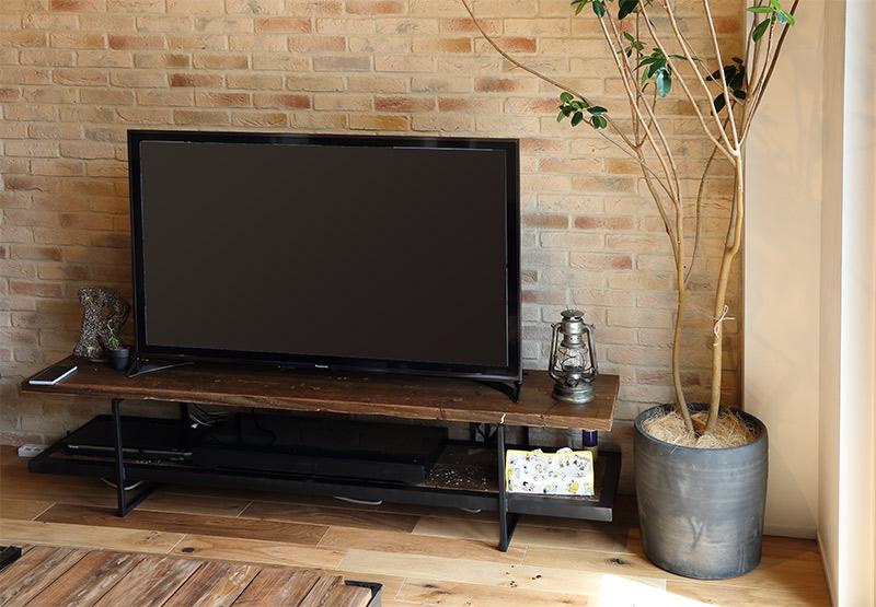 イカピーテレビボード180古材中古の足場板を使ったオープンタイプ